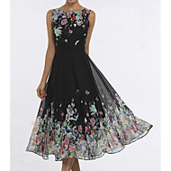 Print Dress Women's Daily Beach Elegant Swing Dress Butterfly, Print Summer Black M L XL
