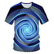 Men's Daily Wear Club Street chic / Exaggerated EU / US Size T-shirt - Color Block / 3D Print Round Neck Navy Blue / Short Sleeve