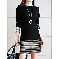 فستان نسائي ثوب ضيق أساسي أنيق مكعبات الألوان - قطن فوق الركبة نحيل هندسي مخطط