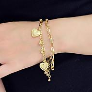 نسائي أساور ساحرة متعدد الطبقات قلب تصميم فريد شائع موضة كروم مجوهرات سوار ذهبي / فضي من أجل مناسب للحفلات عمل مهرجان