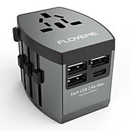 저렴한 -floveme 빠른 속도로 충전 4 개의 USB 포트 1 개의 여행용 어댑터로 전세계의 어댑터 지원 전화 / 테이블 및 기타 장치 (회색)