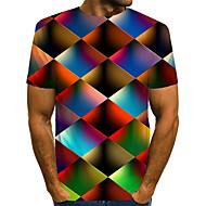 billige -Herre T-shirt Geometrisk Grafisk Trykt mønster Toppe Gade overdrevet Rund hals Regnbue / Kortærmet / Sommer
