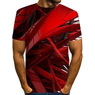 billige -Herre T-shirt Abstrakt Grafisk Trykt mønster Toppe Gade overdrevet Rund hals Blå Rød Lyserød / Kortærmet / Sommer