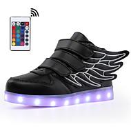 저렴한 -남아 / 여아 LED / 야광 신발 / USB 충전 인조 가죽 운동화 워킹화 LED / 야광의 화이트 / 블랙 / 버건디 여름 / 가을 / 컬러 블럭 / 고무