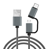 cheap -Micro USB / Type-C Cable 1.0m(3Ft) 1 to 2 Nylon USB Cable Adapter For Xiaomi / Huawei