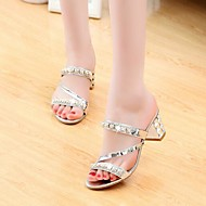 Women's Sandals Wedge Heel Open Toe Buckle PU(Polyurethane) Club Shoes Spring / Summer Gold / Gray / Silver