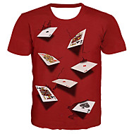 billige -Herre Plusstørrelser T-shirt Grafisk Simulering Trykt mønster Toppe Basale overdrevet Rund hals Sort Lilla Rød / Kortærmet / Sommer