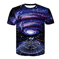 Men's Going out Casual / Daily Rock / Punk & Gothic Plus Size T-shirt - Galaxy / 3D / Portrait Print Round Neck Blue / Short Sleeve