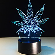 3D Night Light Maple Leaf LED Colorful Christmas Gift Birthday Date Decoration Acrylic Desk Lamp Touch Sensor USB and Batteries Powered Visual Lamp for Bedside Desk Table Kids Baby Toy