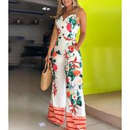 Women's Basic White Slim Jumpsuit Onesie, Floral Print S M L
