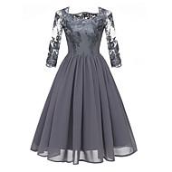 Women's A Line Dress - Floral Lace Blue Gray Wine L XL XXL