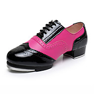 cheap -Women's Dance Shoes Patent Leather Tap Shoes Heel Thick Heel Customizable Fuchsia / Performance / Practice