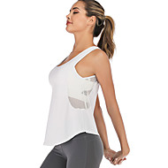 cheap -Women's Yoga Built In Bra Tank Patchwork Removable Pad Fashion White Black Light Grey Mesh Running Fitness Gym Workout Vest / Gilet Sleeveless Sport Activewear Breathable Quick Dry Soft Comfortable