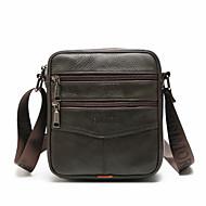 Men's Zipper Cowhide Crossbody Bag Solid Color Black / Coffee / Fall & Winter