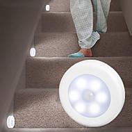 4pcs  Lanyard Hockey Induction Light Free Installation Magnetic Paste Floor Cabinet Round Light Control Eye Feeding Night Light