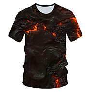 Men's Daily Wear Club Street chic / Exaggerated EU / US Size T-shirt - Color Block / 3D Print Round Neck Black / Short Sleeve