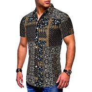 Men's Causal Casual Basic EU / US Size Cotton Shirt - Color Block / Tribal Print Black / Short Sleeve