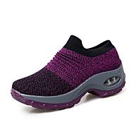 ราคาถูก -สำหรับผู้หญิง ถัก ฤดูร้อนฤดูใบไม้ผลิ / ฤดูใบไม้ร่วง & ฤดูหนาว Sporty รองเท้ากีฬา รองเท้าสวิง รองเท้าส้นตึก ปลายกลม สีดำ / สีเทา / สีม่วง / ลายแถบ