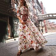 Χαμηλού Κόστους -Γυναικεία Φόρεμα ριχτό από τη μέση και κάτω Μακρύ φόρεμα - 3/4 Μήκος Μανικιού Φλοράλ Λουλούδι Φωτιζόμενη Στάμπα Άνοιξη Καλοκαίρι Καθημερινό Αργίες Διακοπές Φανάρι μανίκι Με Βολάν Λευκό Τ M L XL XXL