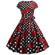 Audrey Hepburn Country Girl Polka Dots Retro Vintage 1950s Rockabilly Dress Masquerade Women's Costume Black / Red Vintage Cosplay School Office Festival Sleeveless Medium Length A-Line