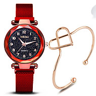 Women's Quartz Watches Fashion Elegant Black Blue Red Stainless Steel Chinese Quartz Red Purple Rose Gold Water Resistant / Waterproof Casual Watch Adorable 30 m 2pcs Analog One Year Battery Life