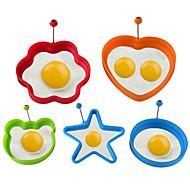abordables -anillo de panqueque de huevo frito de silicona tortilla huevos fritos corazón redondo forma de flor de huevo molde para cocinar herramientas de desayuno