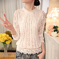 Women's Casual Daily Wear Basic Blouse - Solid Colored Pleated Beige