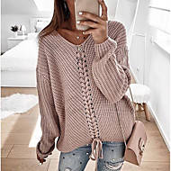 cheap -Women's Casual Knitted Solid Colored Long Sleeve Pullover Sweater Jumper, V Neck Spring / Fall Blushing Pink / Red / Navy Blue S / M / L