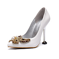 Women's Wedding Shoes Stiletto Heel Pointed Toe Bowknot PU Fall & Winter White / Party & Evening
