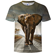 Men's Daily Wear Holiday EU / US Size T-shirt - Color Block / 3D / Animal Print Round Neck Gray / Short Sleeve