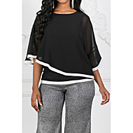Women's Basic Blouse - Color Block Patchwork Black