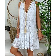 Women's A Line Dress - Solid Colored White S M L XL