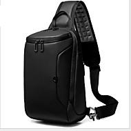 Men's Zipper Oxford Cloth Sling Shoulder Bag Solid Color Black