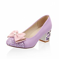 Women's Heels Stiletto Heels Chunky Heel Round Toe Bowknot / Sparkling Glitter Faux Leather Casual / Sweet Walking Shoes Fall / Spring & Summer Black / Almond / Purple / Daily / Pumps