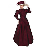 Duchess Victorian Ball Gown 1910s Edwardian Dress Party Costume Women's Costume Red Vintage Cosplay Masquerade Long Sleeve Floor Length Long Length Ball Gown Plus Size