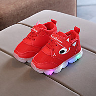 Girls' LED Shoes PU Sneakers Little Kids(4-7ys) / Big Kids(7years +) Walking Shoes LED Purple / Red / Pink Spring / Summer / Rubber