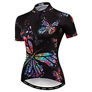 21Grams Women's Short Sleeve Cycling Jersey Black Butterfly Bike Jersey Top Mountain Bike MTB Road Bike Cycling Breathable Moisture Wicking Quick Dry Sports Polyester Elastane Terylene Clothing