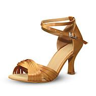 Women's Dance Shoes Satin Latin Shoes Splicing Heel Flared Heel Customizable Red / Khaki / Performance / Practice