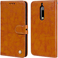 Case For Nokia Nokia 5 Card Holder / Flip Full Body Cases Solid Colored Hard PU Leather for Nokia 5