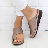저렴한 -여성용 샌들 플랫 둥근 발가락 PU 모든계절 & 가을 / 여름 블랙 / 표범 / 퍼플