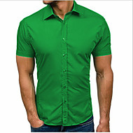 Men's Solid Colored Shirt Basic Daily Black / Blue / Green / Short Sleeve