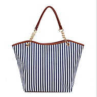 Women's Chain Canvas Tote Blue / Red