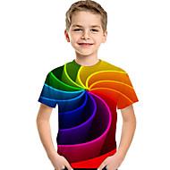 お買い得  -子供 幼児 男の子 活発的 ベーシック 幾何学模様 プリント カラーブロック プリント 半袖 Tシャツ レインボー
