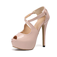 Women's Heels Party Heels Stiletto Heel Peep Toe Buckle Patent Leather Sweet / Minimalism Spring & Summer / Fall & Winter Yellow / Red / Almond / Party & Evening