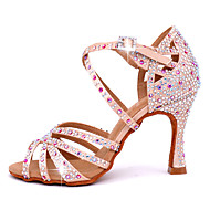 cheap -Women's Latin Shoes Satin Cross Strap Heel Crystal / Rhinestone Flared Heel Customizable Dance Shoes Pink / Performance