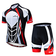 EVERVOLVE Men's Short Sleeve Cycling Jersey with Shorts Red+Black Bike Clothing Suit Breathable Moisture Wicking Quick Dry Anatomic Design Sports Lycra Geometry Mountain Bike MTB Road Bike Cycling