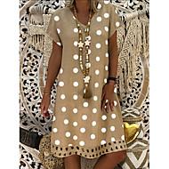 cheap -Women's Plus Size Shift Dress Knee Length Dress - Short Sleeve Polka Dot Print Summer V Neck Casual Holiday Vacation 2020 Black Blue Red Yellow Orange Khaki Green Gray S M L XL XXL XXXL XXXXL XXXXXL