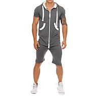 Men's Basic Hooded Black Light gray White Romper Onesie, Solid Colored / Camo / Camouflage US32 / UK32 / EU40 US34 / UK34 / EU42 US36 / UK36 / EU44