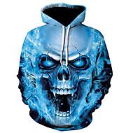 Men's Casual / Active Hoodie - Color Block / Skull Blue US32 / UK32 / EU40