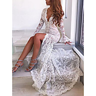 2019 New Arrival Women Party Elegant Maxi Sheath Dress Robe With Slit Lace Femme Vestidos Deep V White Mermaid Dresses